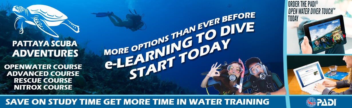 PADI elearning touch app dive courses Pattaya Thailand